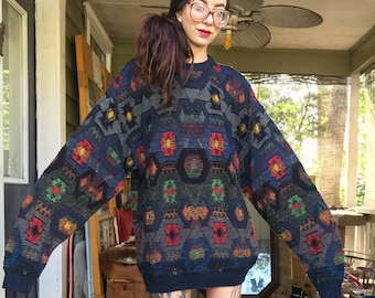 Vintage Oversized Geometric Sweater made in Italy