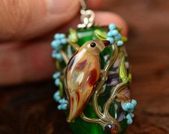 Lampwork glass pendant Beige Bird
