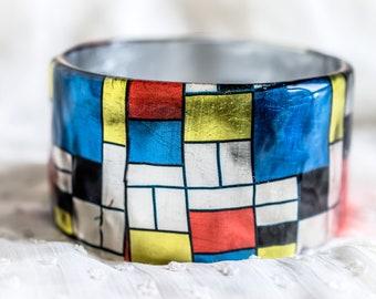 Stacking bangle bracelet cubism art Mondrian