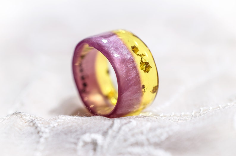 Colorblock Resin Ring Pink Gold Ring Perfect Gift For Her Bohemian Jewelry Wide Resin Ring