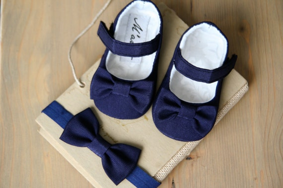 NAVY baby girl shoes navy blue bow