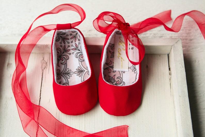 9b100a44b734e Red baby ballet shoes, baby ballerina shoes, Christmas shoes, Crib shoes,  Toddler Christmas shoes, Baby wedding shoes, christening flats