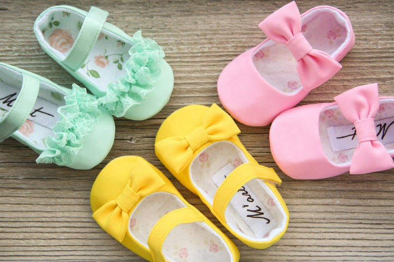 af7bee56fe944 Bright baby girl shoes, mint yellow pink baby shoes, toddler shoes, Easter  baby shoes, summer shoes, baby shower gift, infant slippers
