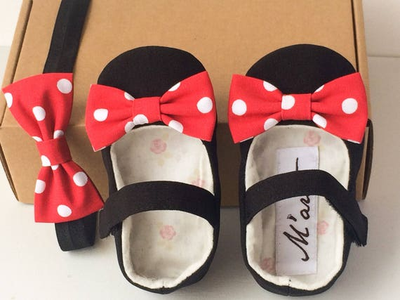 Black red Minnie mouse baby girl shoes