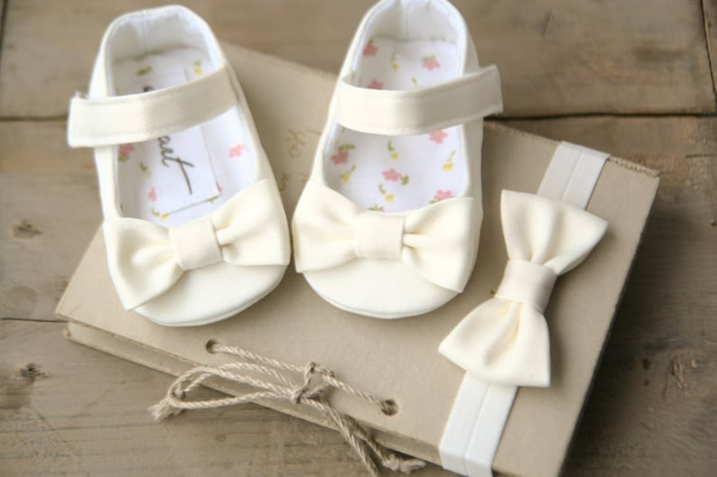 1683d41956de Baby girl baptism shoes and headband WHITE IVORY or CREAM