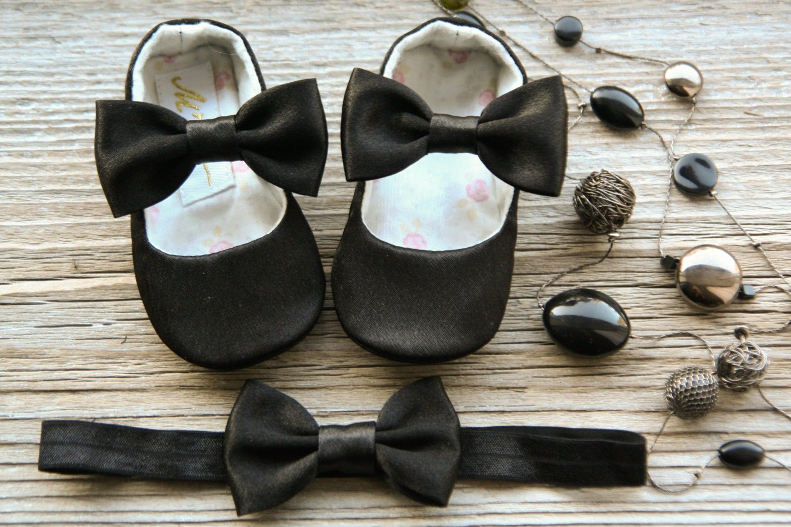 black baby girl shoes and headband, baby ballerina shoes, baby ballet slippers, toddler shoes, newborn shoes, satin baby shoes,
