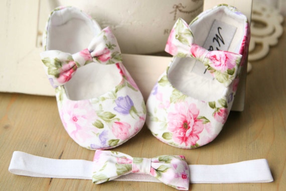 White Floral Baby Girl Shoes Pink Baby Shoes Baby Bow Shoes Etsy