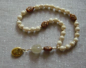 Meditation Beads — Bone and resin beads with charm