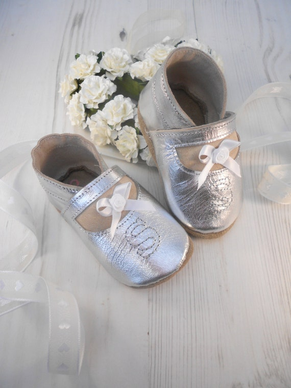 e5552ce0b32b Personalised Silver Leather Baby Shoes and Baptism Shoes