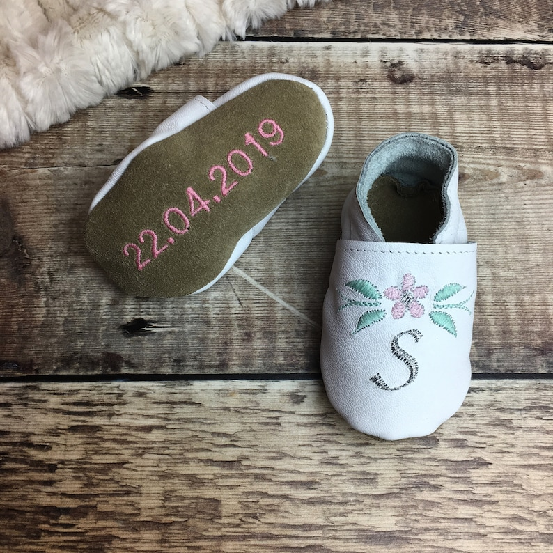 10544934b504 Personalised Flower Baptism Shoes with Initial