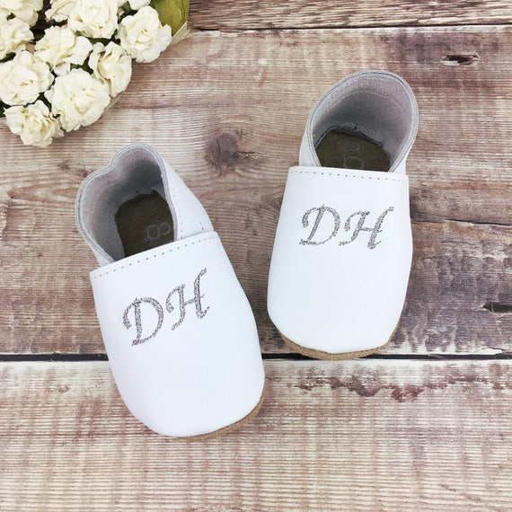 Monogrammed Baptism Baby Shoes
