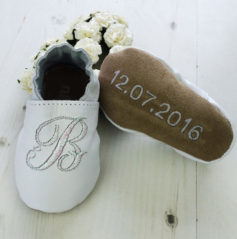 5c4e790349d1 Personalised Iridescent Initial Baby Shoes