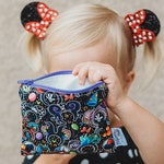 Reusable Snack Bag, Zipper Pouch in Evil Ears Black