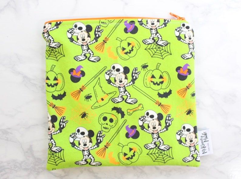 Reusable Snack Bags in Green Halloween Mouse image 0