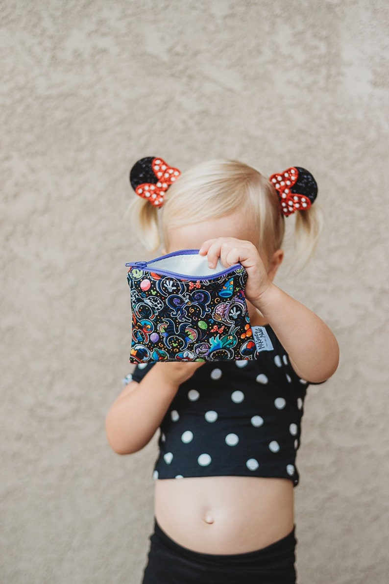 Reusable Snack Bag Zipper Pouch in Evil Ears Black image 0