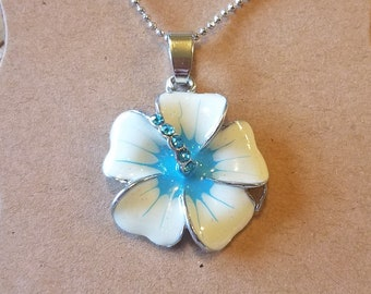 White Plumeria Necklace, Flower Necklace, Blue plumeria necklace, Tropical Necklace, Silver Necklace, Hawaii Necklace