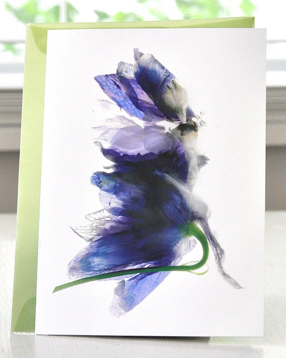 Note Card-Handmade--Delphinium Dance Note Card--thank you Card--Blank