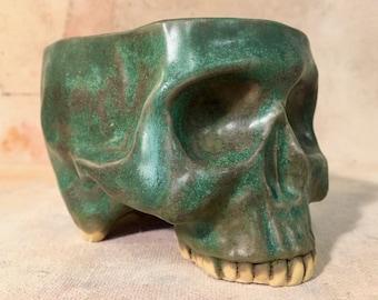 Ceramic Skull Mug Green Patina by Tony Furtado