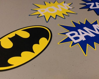 Batman Centerpiece, Pow, Zap, Bam Batman Centerpiece for Birthday Party, Baby Shower, Centerpiece