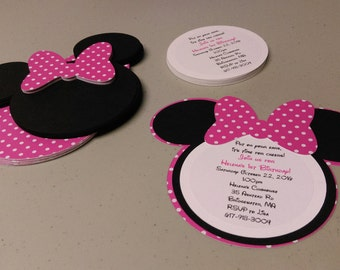 DIY Minnie Mouse Invitations in Bold Pink and White Polka Dots, Baby Shower Invitation Set, Build Your Own Invitations