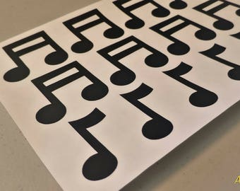 24 Musical Note Stickers, 1 Inch Tall, Choose Your Color