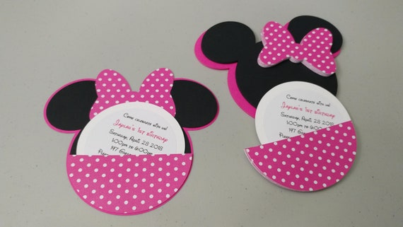 Diy Minnie Mouse Invitations With Pink Polka Dot Bows And Pink Etsy