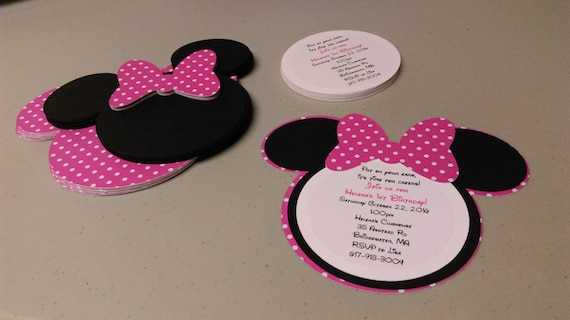 Diy Minnie Mouse Invitations In Bold Pink And White Polka Etsy