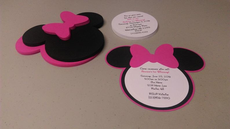 Diy Minnie Mouse Invitations In Dark Pink Birthday Etsy