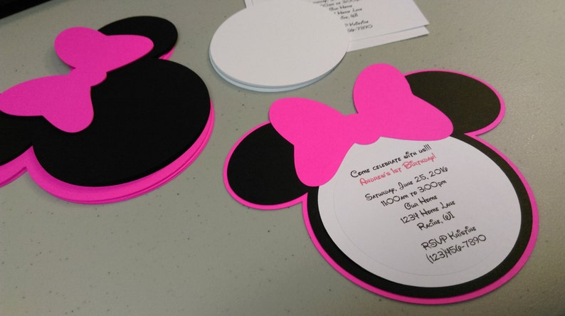 Diy Minnie Mouse Invitations In Hot Pink Baby Shower Etsy