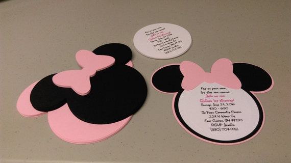 Diy Minnie Mouse Invitations In Light Pink Birthday Etsy