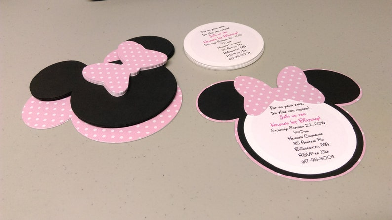 Diy Minnie Mouse Invitations In Light Pink And White Polka Etsy