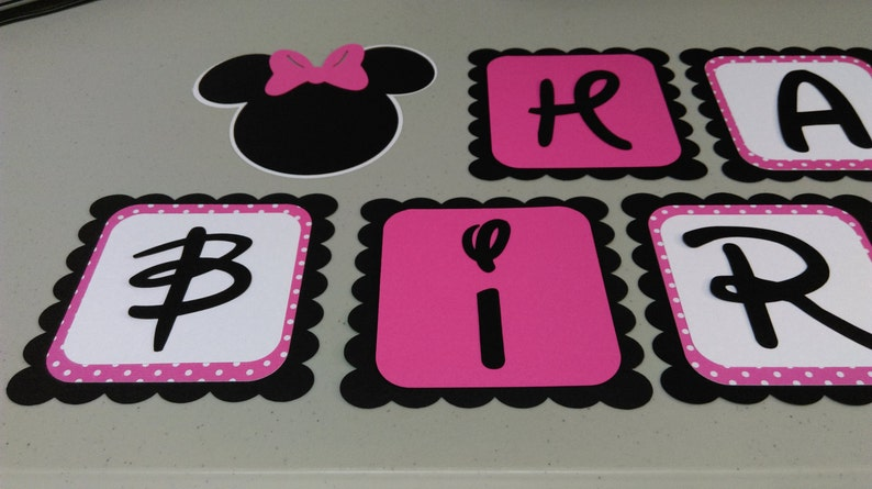 Minnie Mouse Birthday Banner Diy Minnie Mouse Birthday Pink Etsy