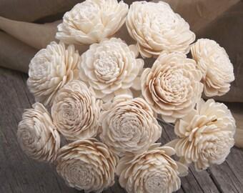 "Sola Flowers, Stemmed Sola Flowers, Set of 10 Stemmed or Loose Sola Flowers, Natural Ivory, Sola Zinnia 2"" DIY Bride, Sola Wood Flowers"