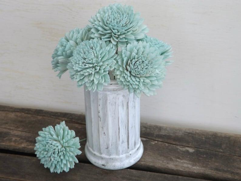 Stemmed Sola Flowers Mint Ivory or Blush Dahlia 2 Set of 6 DIY Bride Bouquet Craft Supply Decoration Sola Wood