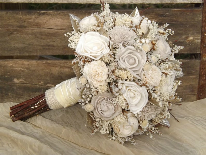 Rustic Woodland Twig and Sola Flower Bride Bouquet with image 0