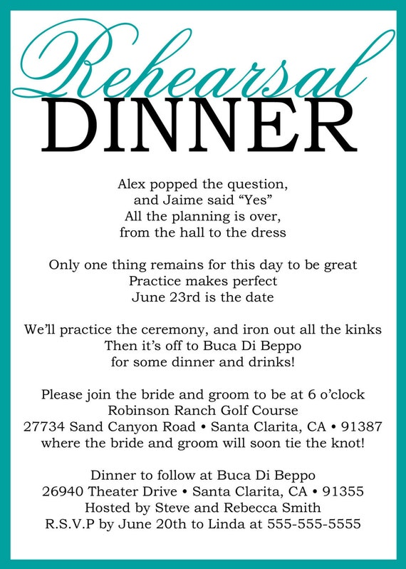 Custom Printable Wedding Rehearsal Dinner Poem Invitation Etsy