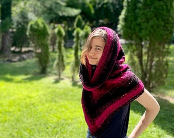 Ready to Ship Wild Oleander Hooded Scarf - Adult Size - Hot Pink and Black Gradient - Option for Fringe - RTS Gifts - Fall Autumn Fashion