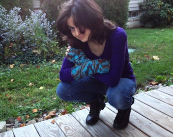 Made to Order Alice Cullen's Fingerless Gloves Aqua and Brown Variegated Yarn Mittens
