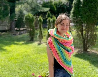 Ready to Ship Wild Oleander Hooded Scarf - Adult Size - Pastel Rainbow - Hooded Triangle Scarf - Optional Fringe - RTS Gifts - Fall Fashion