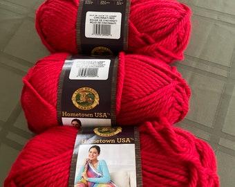 Ready to Ship - Lion Brand Hometown USA Yarn in Cincinnati Red Destash Super Bulky Yarns Four 4 Skeins
