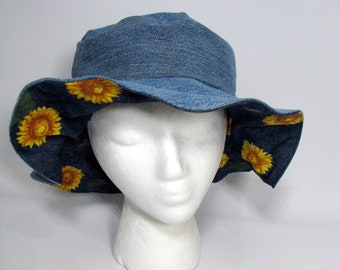 Hat, Summer hat, Floppy Hat, Sunflower hat, big hat, Denim hat, Boho, Sun hat Reversible hat over-sized hat Upcycled Hat OOAK Woman's Hat,