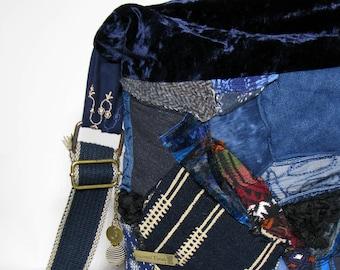 Bag Cross Body Bag Upcycled Handbag Gift for Her OOAK Velvet Bag Shoulder bag Boho bag OOAK bag Patchwork bag Piece Bag Blue bag