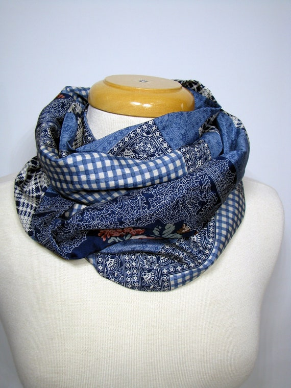 Silk Scarf, Infinity Scarf, blue scarf, Gift Ideas, Gift for her, Fashion  Scarf, Circle Scarf, Loop Scarf, infinity scarves for women