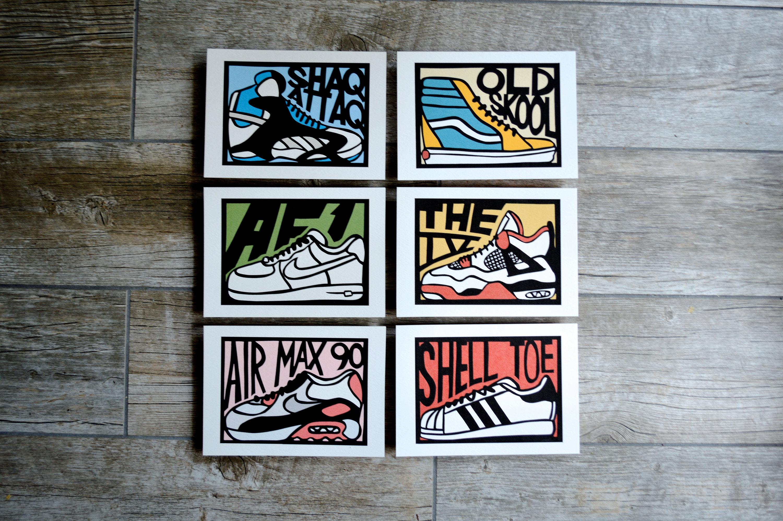 c53d1159b Classic Sneakers Set of 6 Digital Art Prints