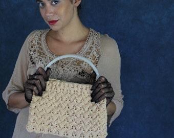 Cute hand crochet fabric bag / 1950s retro ladylike mad men hand made cream textile handbag with plastic handles