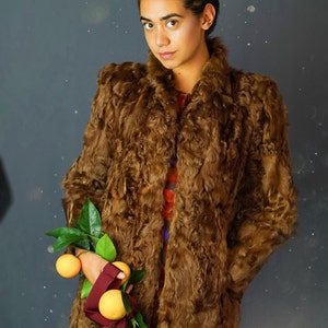 Wonderful antique mouton Russian Princess coat funky old bell sleeve patchwork chocolate 40s shaved sheepskin fur  velvety statement piece