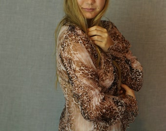 Vintage silk chiffon animal blouse / sheer crinkle ruffle shearling / romantic ladylike detailed plunging party top