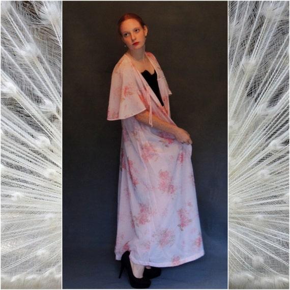 Mid century sheer lingerie large  kimono / peignoi