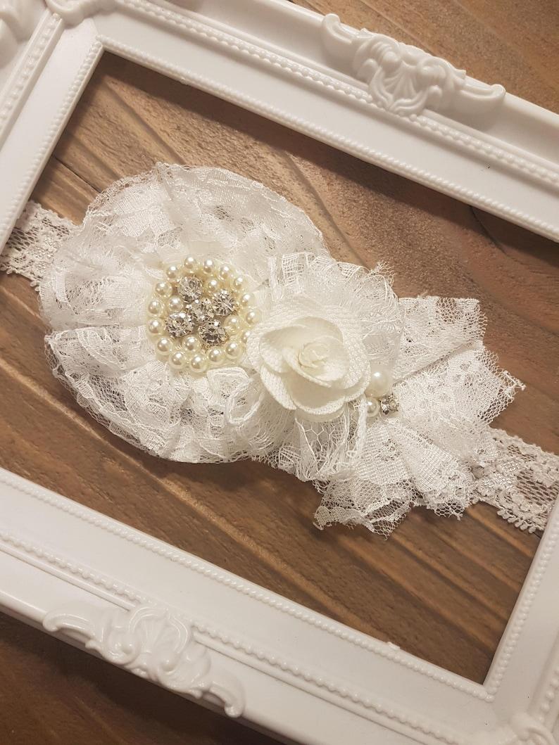 Christening Headband Christening Gift for her Baby Shower Gift White Lace Headband Vintage Lace Headband Pearls Baby Baptism Headband