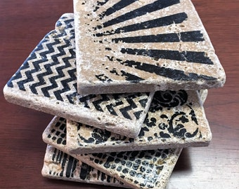 Stamped Tile Coasters